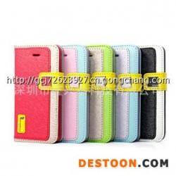 厂家直销 iphone5C手机套 冰蚕丝左右开插卡皮套