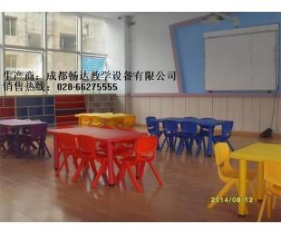 幼儿园课桌椅现货,成都幼儿园六人桌,四川儿童塑料桌椅子供应