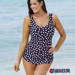 欧洲站2016新款波点泳衣背心遮肚显瘦分体女士泳衣T32102wish热卖