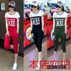 2016夏装女士运动韩版拼色休闲套装短袖t恤圆领运动服潮修身
