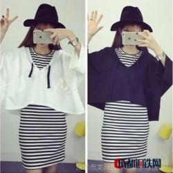 2016夏季新款女装韩版两件套连衣裙连帽套头卫衣+条纹背心裙批发