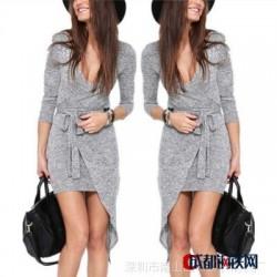 2015速卖通ebay欧美浅灰色不规则中长系腰带五分袖连衣裙连衣裙