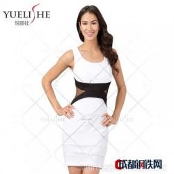 亚马逊淘宝女装货源 欧美性感修身拼接撞色连衣裙俱乐部服批发