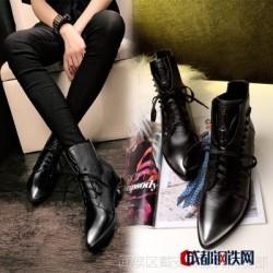 2016秋冬新款擦色牛皮女鞋铆钉系带真皮鞋子尖头内增高英伦马丁靴