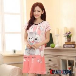 两只小熊 爱心可爱牛奶丝睡裙睡袍批发 女士短袖睡衣免费代理