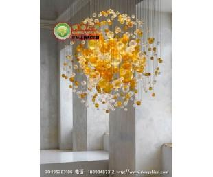 琥珀色气泡吊灯 吹制玻璃气泡灯 玻璃气泡装饰吊灯 玻璃泡定制