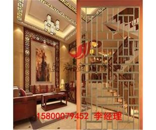 來圖定制鏡面玫瑰金不銹鋼屏風 金屬花格鏤空酒店背景拉絲黑鈦金圖片