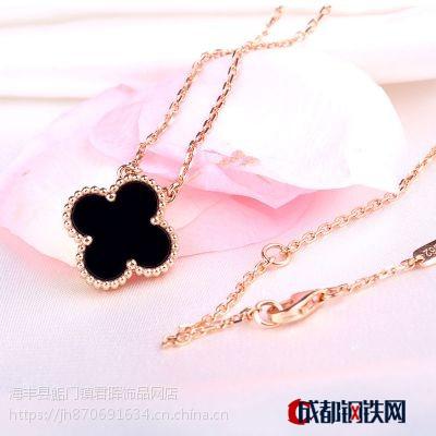 純銀S925四葉草項鏈 韓版時尚女短款簡約鎖骨鏈飾品玫瑰金吊墜批