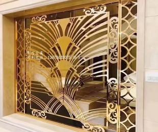 钛金色激光镂空花型不锈钢屏风 不锈钢隔断生产厂家