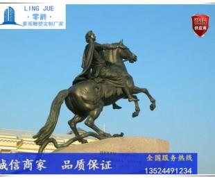 欧洲骑士雕塑-古罗马人物铸铜雕塑-金色烤漆骑兵雕塑定制