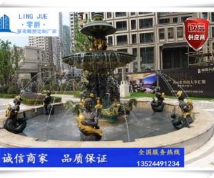 园林景观喷泉水池雕塑-创意人物喷水景定制