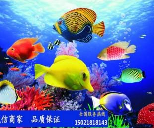 上海塑景雕塑厂定制玻璃钢彩绘鱼群雕塑 海洋馆布景雕塑