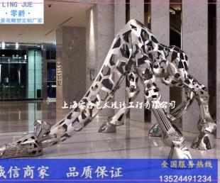 福建玻璃钢长颈鹿雕塑-卡通麒麟鹿批发图片