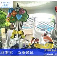 韩国校园小兔子拉车雕塑-不锈钢兔子骑车景观