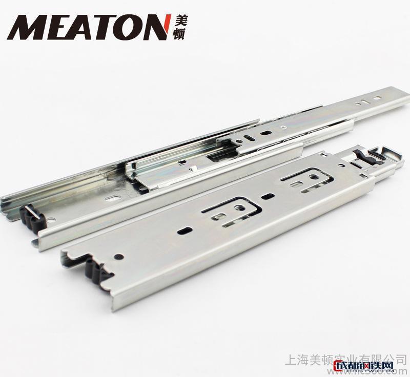 冷轧钢铜芯阻尼导轨 三节钢珠抽屉滑轨 办公桌滑道 缓冲橱柜滑
