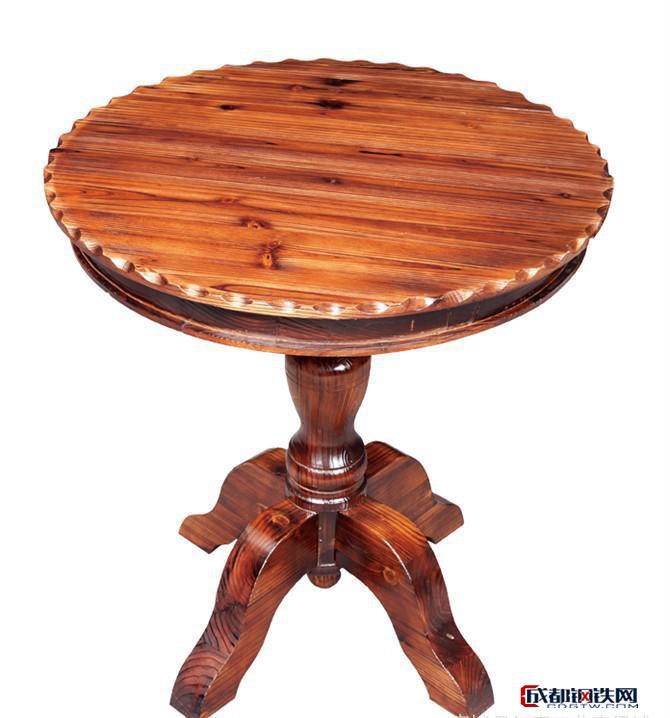 歐式實木仿古圓餐桌椅組合 雙層美式飯桌轉盤圓小戶型桌子包郵