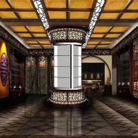 中式仿古风格酒店会所别墅彩绘吊顶古建浮雕吊顶