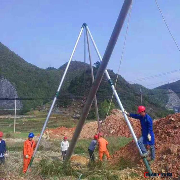 【刻发】厂家直销铝镁合金管式扒杆器 电线杆立杆机 8米10米12米15米起杆器 铝合金三角拔杆 人字抱杆