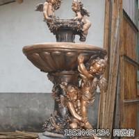 酒店欧式水景喷泉铸铜雕塑小天使流水鱼池