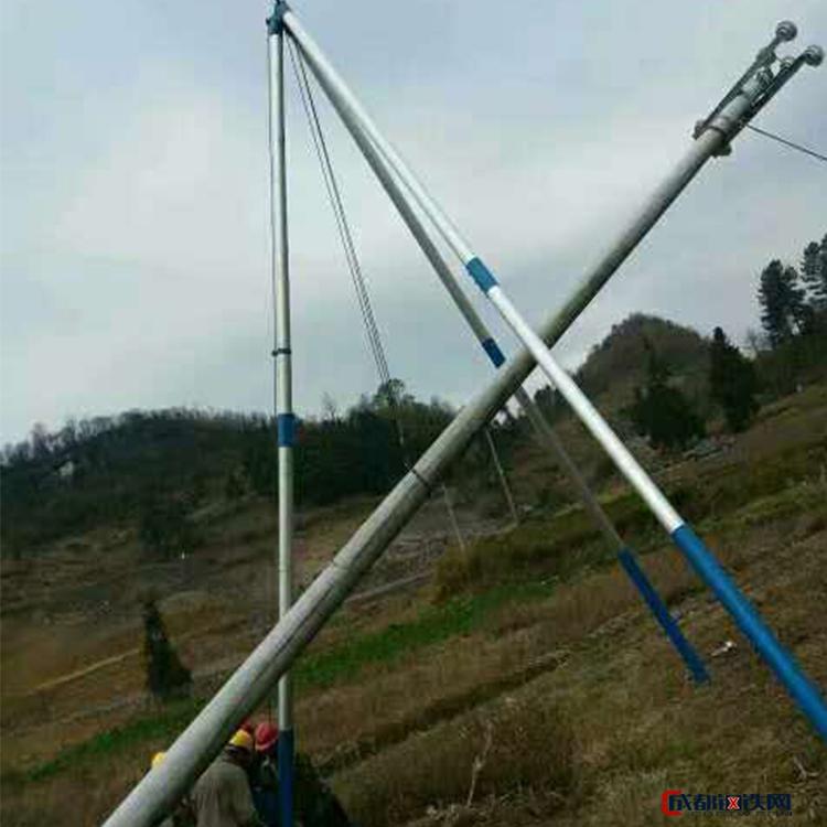 加强加厚分体整体型电力三角拔杆机 铝合金管式三角架 手摇立杆机 起立15米水泥杆 现货直销