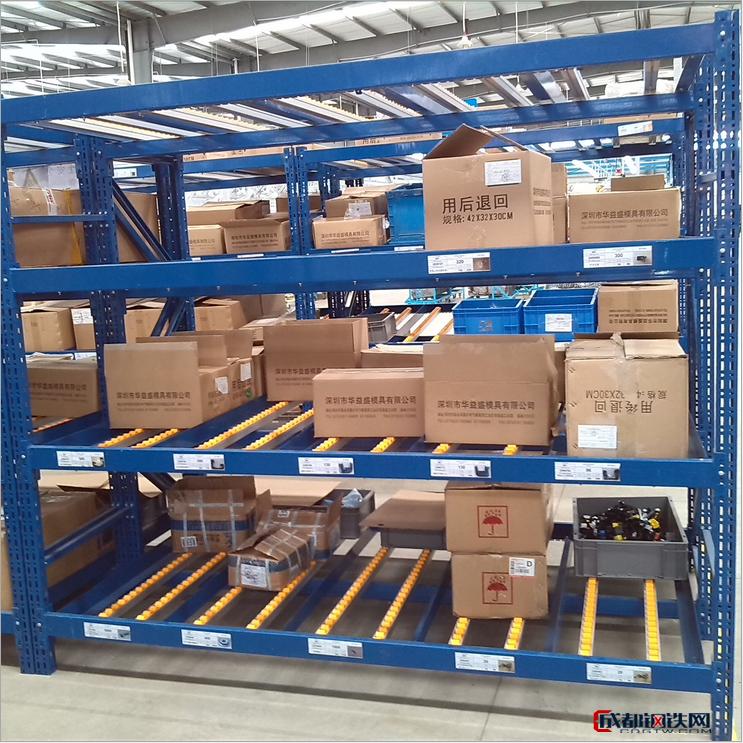 冠隆兴货架厂生产滚轮式货架,滚轮货架,精益管架,导轨货架,轮子货架