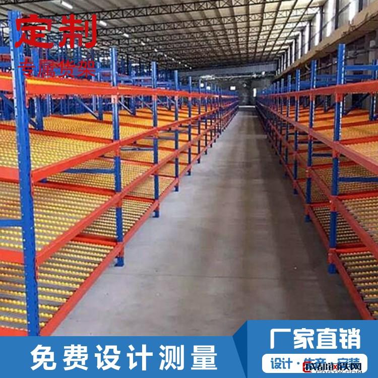天津貨架廠家直銷流利式倉儲貨架復合管流利條工業倉庫貨架定制